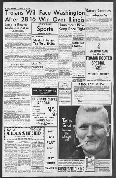Daily Trojan, Vol. 54, No. 25, October 29, 1962