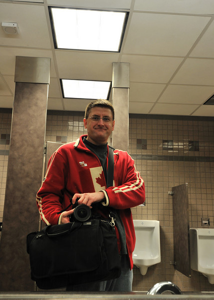 Typical self portrait in the bathroom at the Calgary Airport