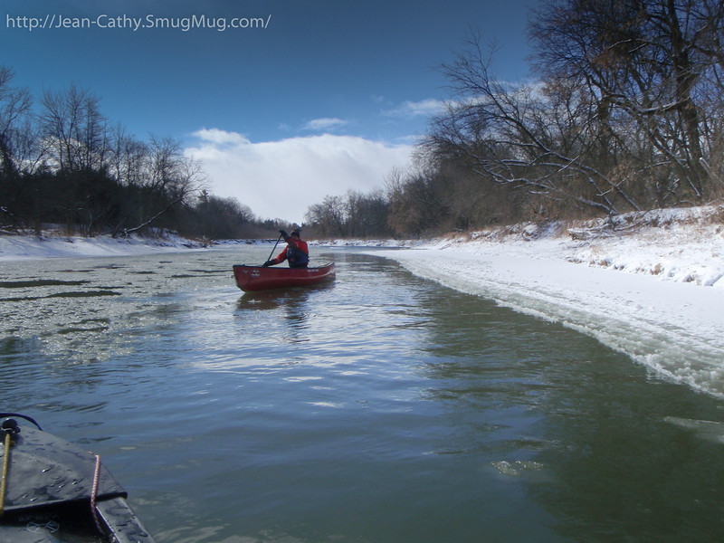 Gradually the ice subsided and we were able to find clear leads to paddle in.
