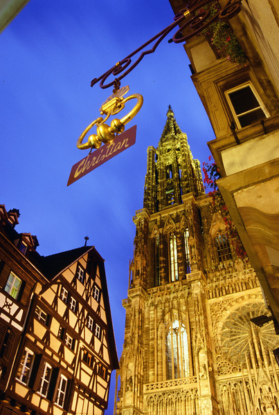 Strasbourg Central Square at Dusk