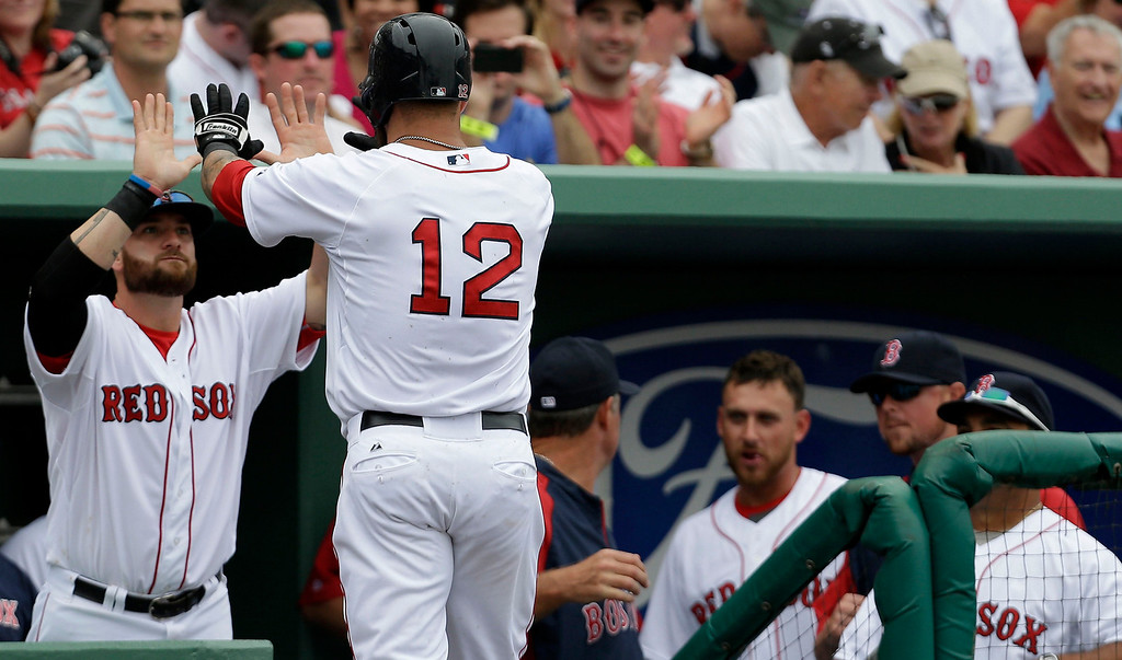 . Boston Red Sox first baseman Mike Napoli (12) is greeted at the dugout by Jonny Gomes after his solo homer during the second inning of an exhibition baseball game against the Minnesota Twins in Fort Myers, Fla., Saturday, March 29, 2014. (AP Photo/Gerald Herbert)