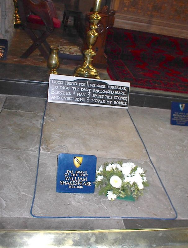 Shakespeare's grave, Holy Trinity Church, Stratford