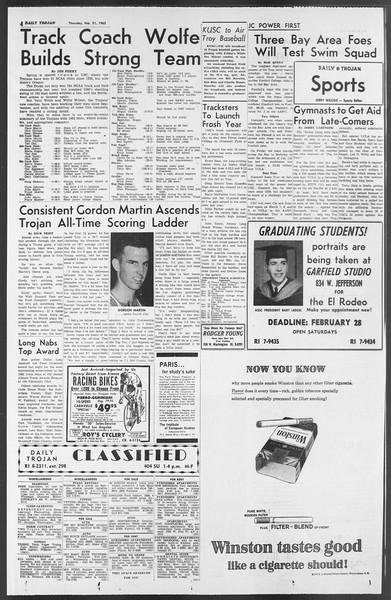 Daily Trojan, Vol. 54, No. 67, February 21, 1963