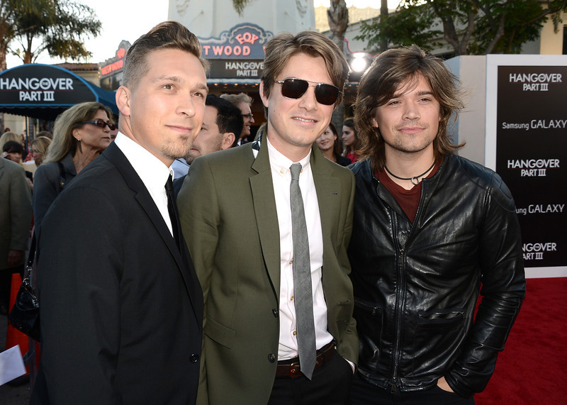 """. Musicians Isaac Hanson, Taylor Hanson, and Zac Hanson of the band Hanson arrive at the premiere of Warner Bros. Pictures\' \""""Hangover Part 3\"""" on May 20, 2013 in Westwood, California.  (Photo by Kevin Winter/Getty Images)"""