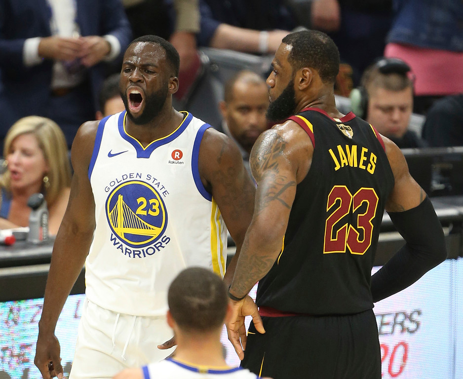 . Cleveland Cavaliers forward LeBron James reacts after getting called for a foul as Cleveland Cavaliers forward LeBron James gives him a bump during the first half of Game 3 of basketball\'s NBA Finals on Wednesday, June 6, 2018, in Cleveland. (Joshua Gunter/Cleveland.com via AP)