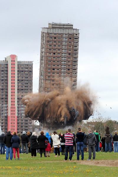 Red road flats demolition .PIC PAUL CHAPPELLS.