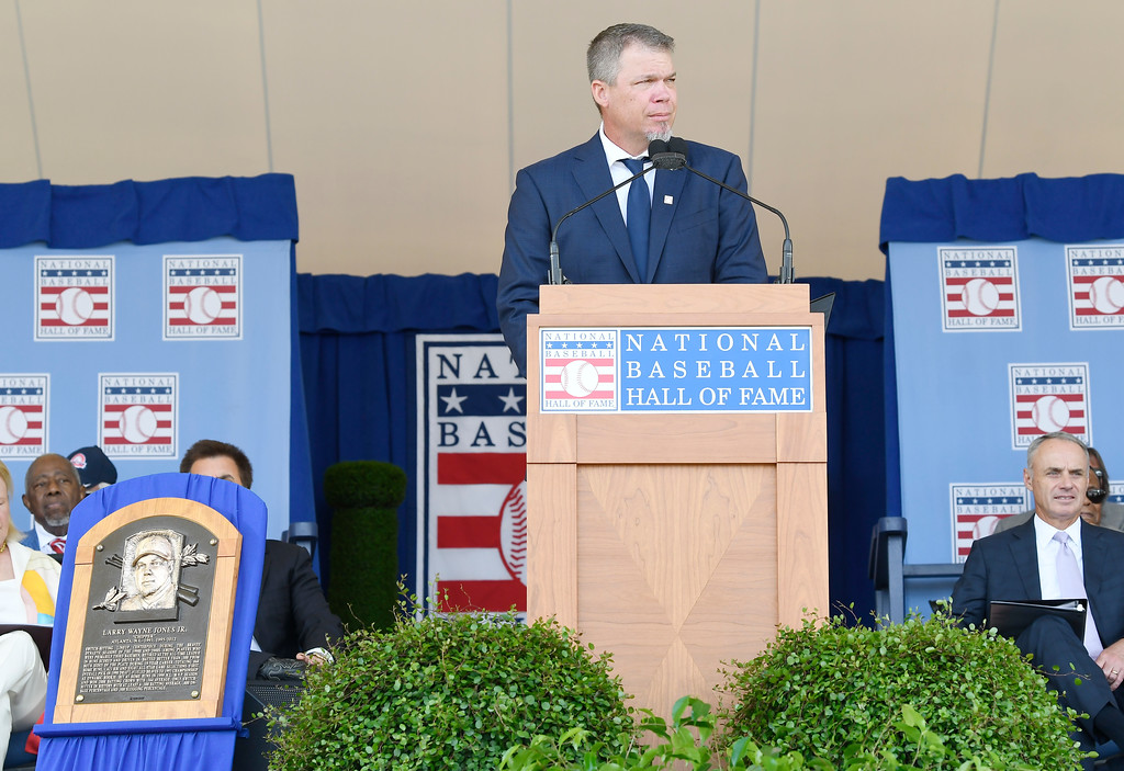 . National Baseball Hall of Fame inductee Chipper Jones speaks during an induction ceremony at the Clark Sports Center on Sunday, July 29, 2018, in Cooperstown, N.Y. (AP Photo/Hans Pennink)
