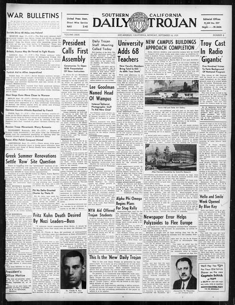 Daily Trojan, Vol. 31, No. 2, September 18, 1939