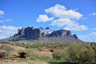 Snow on mountains around Apache Junction, Goldfield Ghost Town, Tortilla Flats