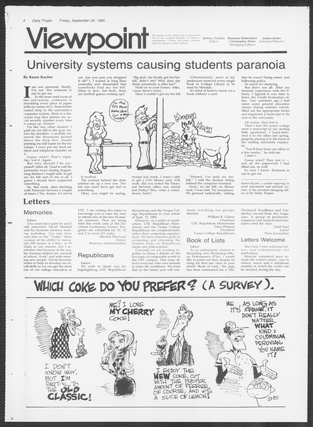 Daily Trojan, Vol. 100, No. 14, September 20, 1985