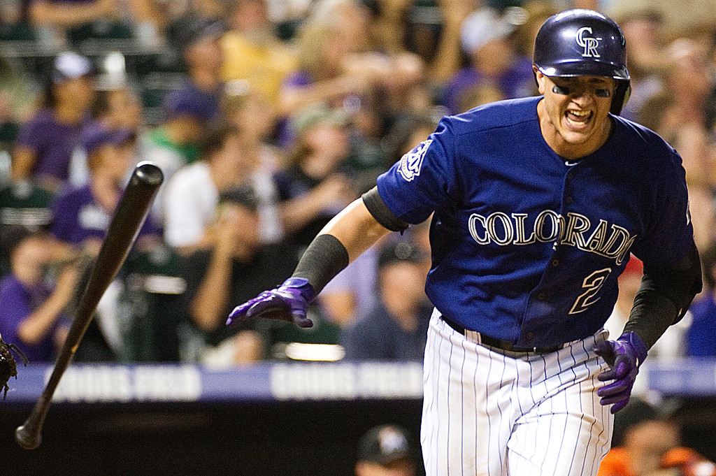 . DENVER, CO - JULY 22:  Colorado Rockies\' #2 Troy Tulowitzki grimaces after hitting a pop fly during the eighth inning of a Major League Baseball game between the Miami Marlins and the Colorado Rockies on July 22, 2013 at Coors Field. The Miami Marlins defeated the Rockies 3-1. (Photo By Grant Hindsley/The Denver Post)