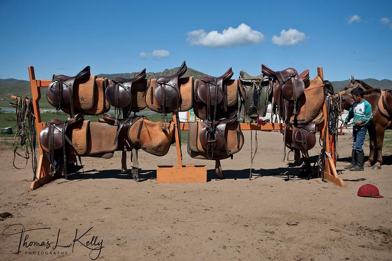 Saddles in Monkhe Tingri. Mongolia.