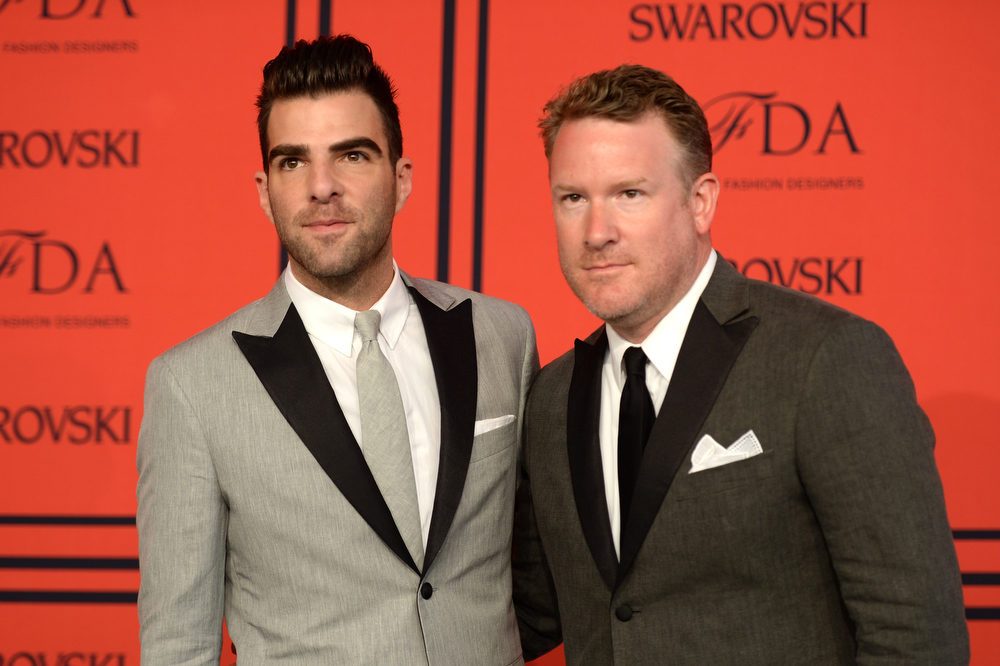 . Zachary Quinto (L) and Designer Todd Snyder attend 2013 CFDA Fashion Awards at Alice Tully Hall on June 3, 2013 in New York City.  (Photo by Andrew H. Walker/Getty Images)