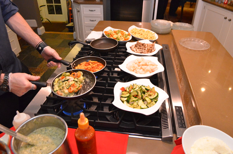 Choice of pasta, shrimp, chicken, vegetables, cooked to order.