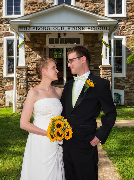 Bride and Groom Standing in front of school 1.jpg