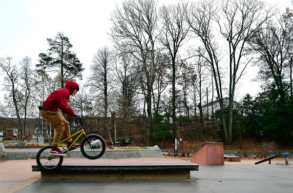 11/20/2019 Mike Orazzi | Staff Ian Formeister spends some time in the skate park in Bristol's Rockwell Park on Wednesday afternoon.