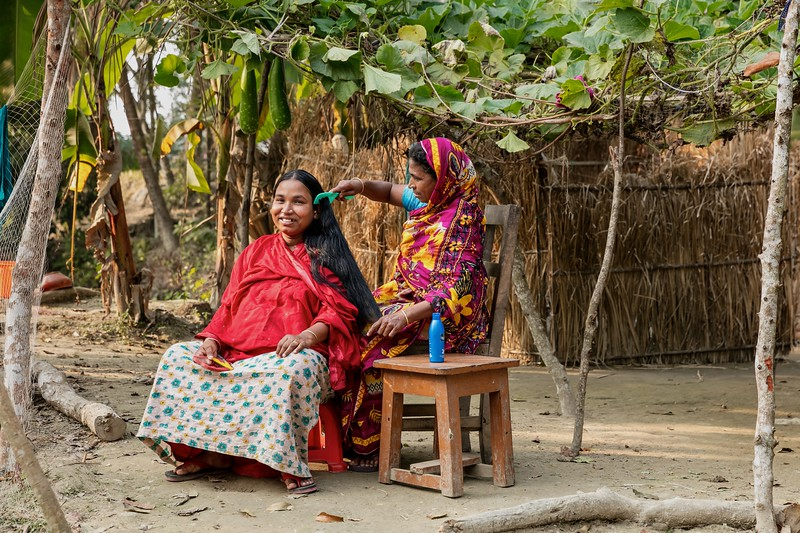 0117-0125Lipi (25) is being taken care of, by her mother in law. Lipi is 9 months pregnanct now.Thisis her 2ndpregnancy.   She had a miscarriage with her pregnancy.Atkhali Village, Dakua Union Golachepa, Potuakhali. Bangladesh.Photo Credit: b.a.sujaN / Map / WRA