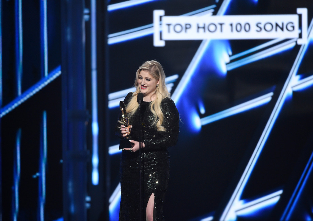 . Meghan Trainor accepts the award for top hot 100 song for �All About That Bass� at the Billboard Music Awards at the MGM Grand Garden Arena on Sunday, May 17, 2015, in Las Vegas. (Photo by Chris Pizzello/Invision/AP)