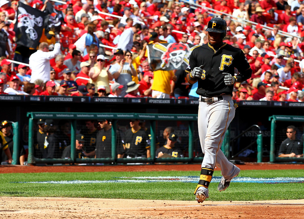 . ST LOUIS, MO - OCTOBER 04:  Starling Marte #6 of the Pittsburgh Pirates heads home after he hits a solo home run in the eighth inning during Game Two of the National League Division Series at Busch Stadium on October 4, 2013 in St Louis, Missouri.  (Photo by Dilip Vishwanat/Getty Images)