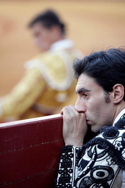 The Spanish bullfighter Fernando Cruz, pensive during a bullfight at Real Maestranza bullring, Seville, Spain, 15 August 2006.
