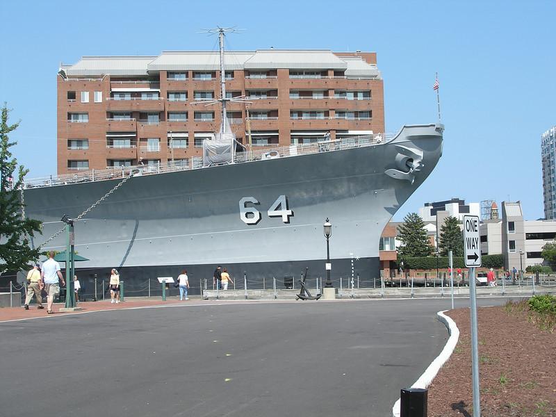 Battleship Wisconsin from street level