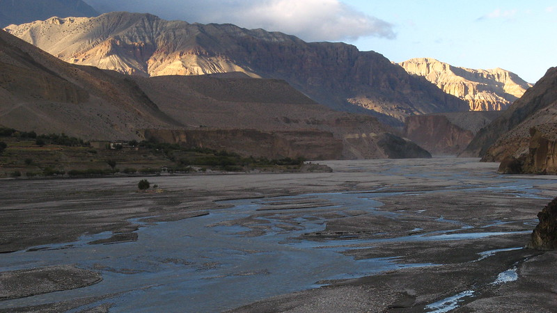 Looking into upper-Mustang from Kagbeni at sunset.