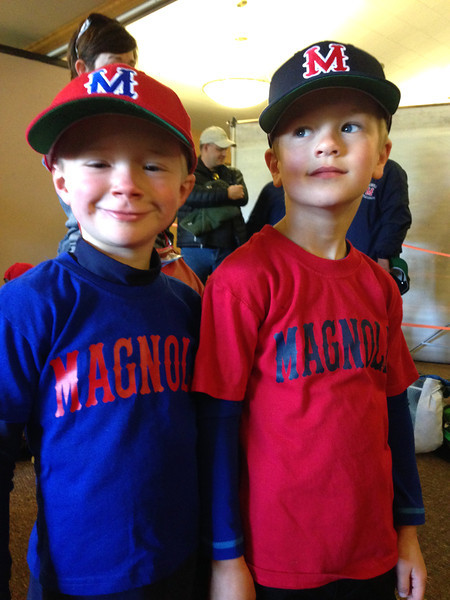 Connor and his buddy, Ilya, run into each other at the Tball picture day.