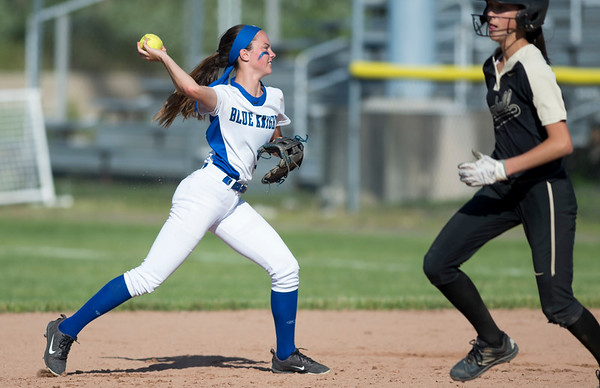 06/03/19 Wesley Bunnell | Staff Southington softball defeated Trumbull in a semifinal Class LL game at DeLuca Field in Stratford on Monday afternoon. Alexandra Rogers (8) throws to first base for the final out of the inning.