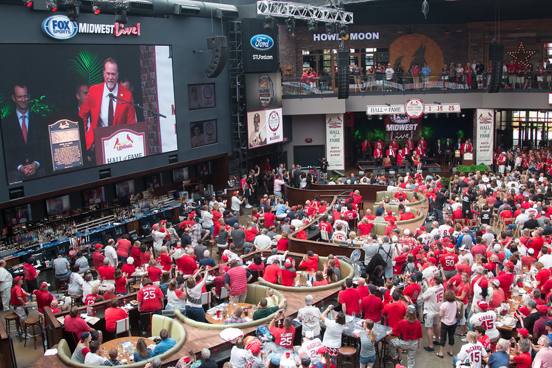 New inductee Mark McGwire speaks -- Cardinals Hall of Fame Induction ceremony 2017, Ballpark Village, St. Louis, Aug 26, 2017.