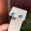 3.47ctw Blue Zircon Hexagon Stud Earrings 10