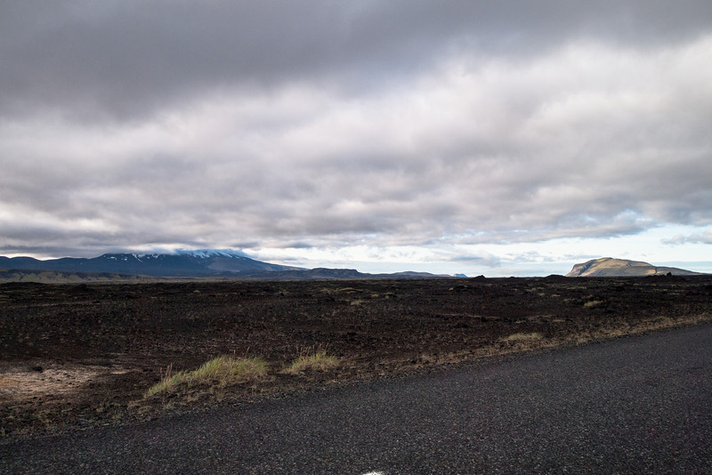 The mountain to the left is the base of  Mt. Hekla.  When I stepped out of the car to take this photo, the temperature was around  6C/42F with high winds