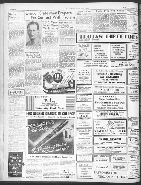 Daily Trojan, Vol. 28, No. 4, September 23, 1936