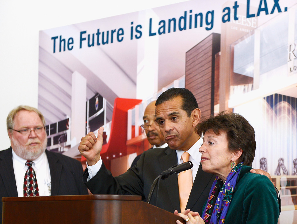 . Los Angeles Mayor Antonio Villaraigosa gives a thumbs up while Gina Marie Lindsey, Executive Director of Los Angeles World Airports, speaks during the unveiling of the north concourse and three gates of the new Tom Bradley International Terminal at Los Angeles International Airport on March 6, 2013  (Photo by Kevork Djansezian/Getty Images)
