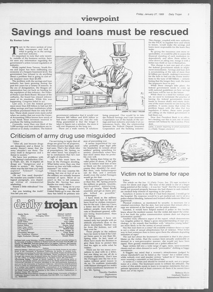 Daily Trojan, Vol. 108, No. 11, January 27, 1989