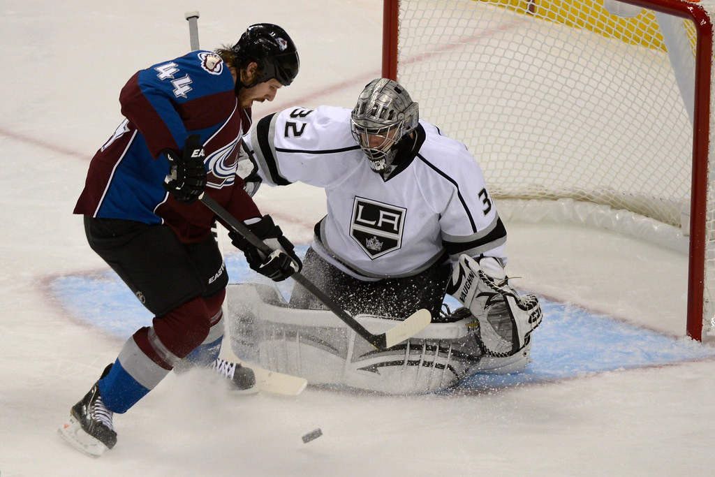 . DENVER, CO. - JANUARY 22: Colorado Avalanche defenseman Ryan Wilson (44) attempts a shot on Los Angeles Kings goalie Jonathan Quick (32) during the second period. The Colorado Avalanche hosted the Los Angeles Kings at the Pepsi Center on January, 22, 2013.   (Photo By John Leyba / The Denver Post)