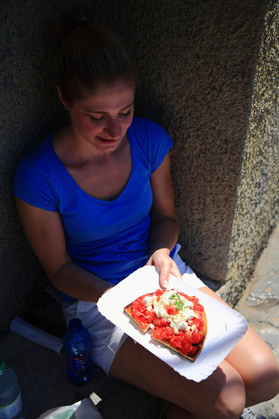 Picnic lunch in Corniglia - Julie got bruschette.