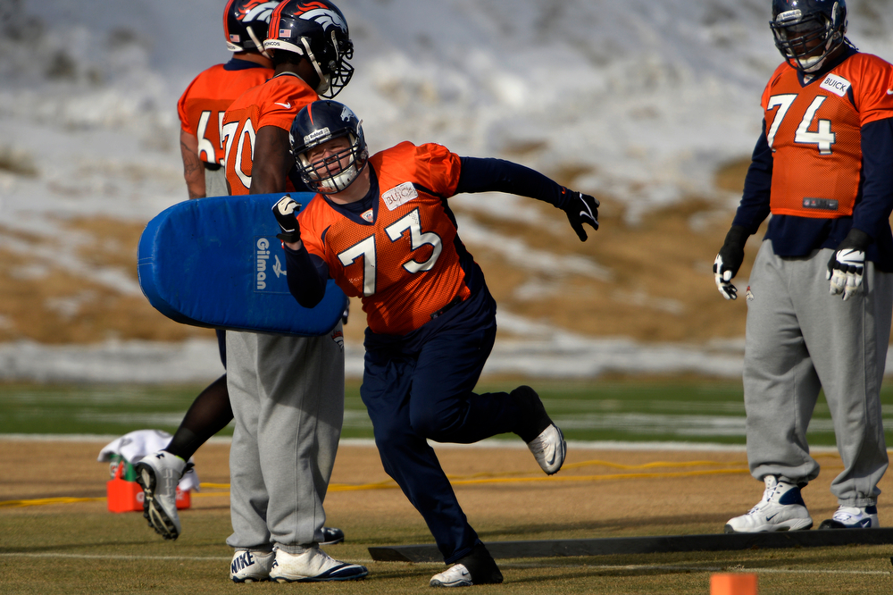 . Guard Chris Kuper #73 of the Denver Broncos running drills during practice at Dove Valley in Centennial January 10, 2014 Centennial, Colorado. (Photo by Joe Amon/The Denver Post)