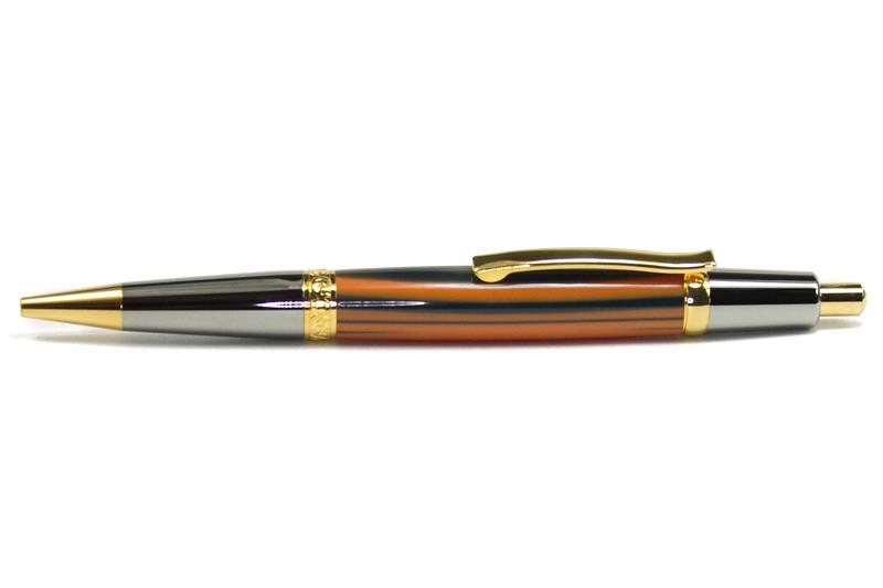 Elegant Sierra Button Click Black Titanium with Titanium Gold shown with Bengal Tiger Poly blank