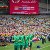 Socceroos warming up | 2015 Asian Cup Final Match | Australia vs South Korea | Stadium Australia | January 31, 2015 in Sydney, Australia