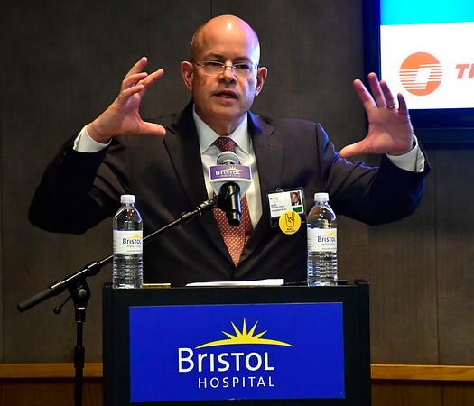 2/7/2019 Mike Orazzi | Staff Kurt Barwis, Bristol Hospital President and CEO, talks about an energy efficiency project the hospital recently completed during a meeting with the Connecticut Association of Healthcare Executives.