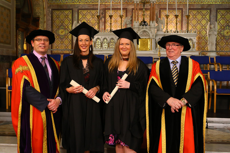 Waterford Institute Of Technology Conferring. Pictured at WIT Waterford Institute Of Technology Conferring are Dr. Ruaidhrí Neavyn, President, WIT, Janet Cunningham and Heather Heatherton from Kilkenny who graduated Bachelor of Arts (Hons) in Accounting,  Dr Donnie Ormonde Chairman WIT.Picture: Patrick Browne