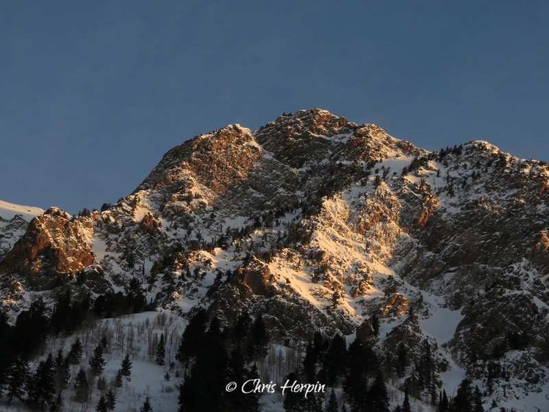 Morning sun on Wasatch Mountains, Utah