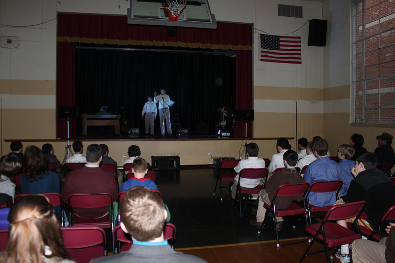 Peter Conroy and Pat Hunt MC the Talent Show.JPG