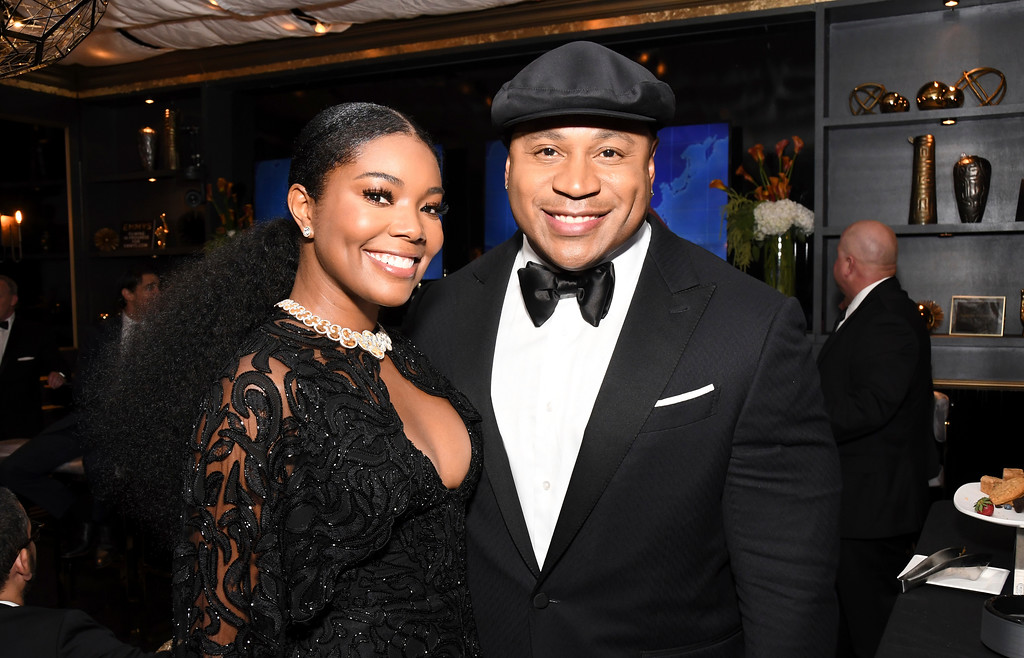 . EXCLUSIVE - Gabrielle Union, left, and LL Cool J appear in the green room at the 69th Primetime Emmy Awards on Sunday, Sept. 17, 2017, at the Microsoft Theater in Los Angeles. (Photo by Charles Sykes/Invision for the Television Academy/AP Images)