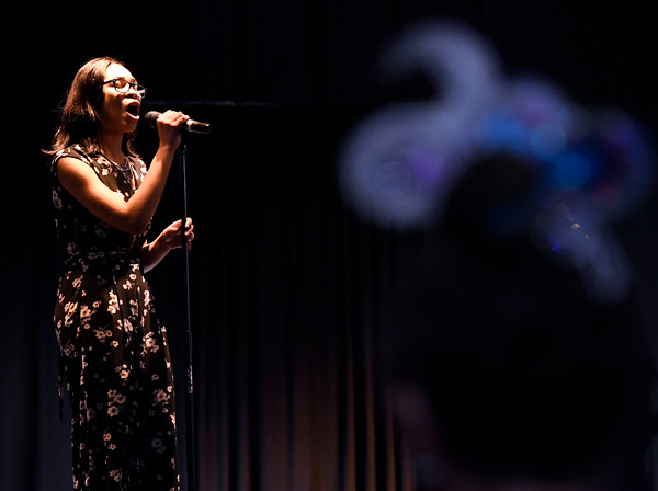 3/24/2018 Mike Orazzi | Staff Sabrina Jones performs during The Queen Ann Nzinga Center's 9th annual Connie Wilson Collins Exceptional Women Concert, honoring outstanding women from the Greater Bristol, Plainville and New Britain community, held at Trinity on Main Saturday evening.