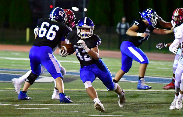 10/11/2019 Mike Orazzi | StaffrSouthingtons Dillon Kohl (42) during Friday night's football game with Manchester in Southington. r