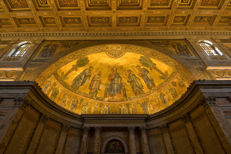 Dome with paintings in St. Paul's Basilica in Rome, Italy