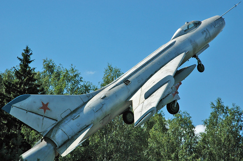 "Chkalovsky Air Base (CKL/UUMU) outside Moscow on July 25, 2008. Soviet Air Force Sukhoi Su-7BM Fitter-A ""21 White""."