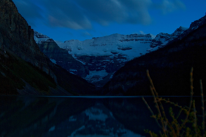 The typical tourist's view of lake Louise taken at 11:35pm after we made our way back from the opposite side of the lake.