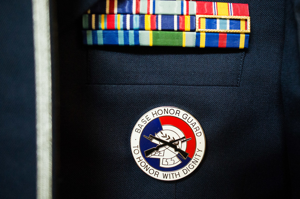 """. Base Honor Guard \""""cookie\"""" on a ceremonial uniform at March Air Reserve Base in Riverside, Calif. on Monday, May 18, 2015. (Photo by Watchara Phomicinda/ Los Angeles Daily News)"""